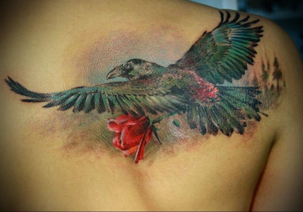 Crow bird tattoo
