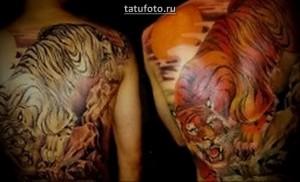 Пример тигра в тату на спину