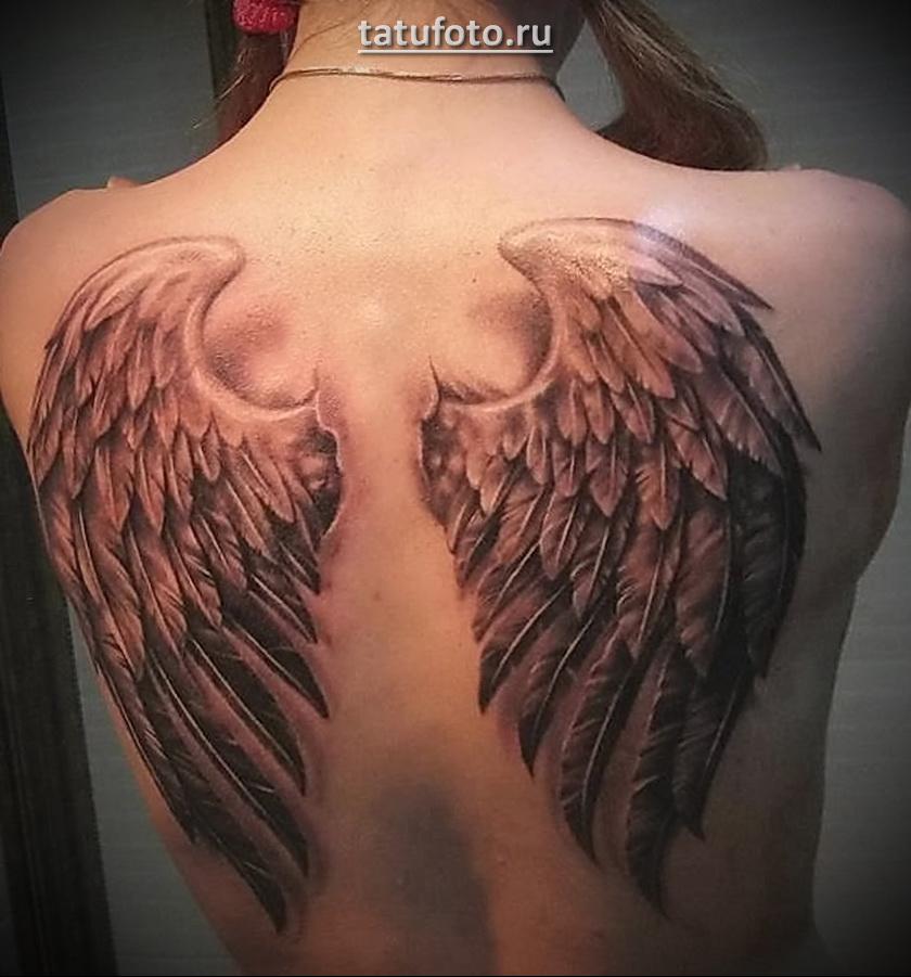 Тату крылья на спине демона