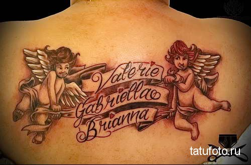 ангелочки и надписи тату на спине женская