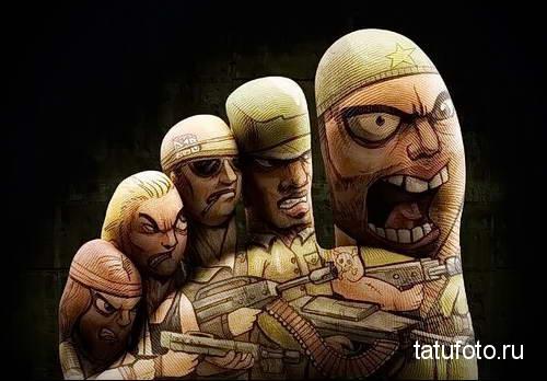 армия - татуировка на стопе мужская - фото
