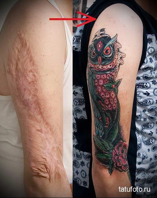 большая сова - женская татуировка на шраме - перекрытие - фото