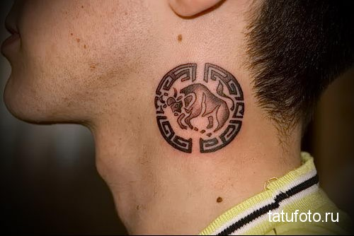 бык - символ знака зодиака - телец - татуировка на шее мужчины - фото