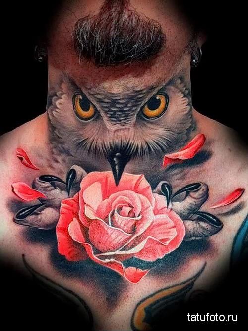 взгляд совы и цветок - татуировка на шее мужчины - фото