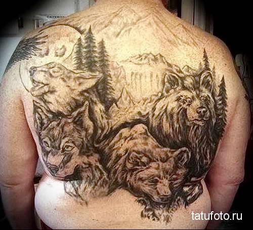 волки и медведи в лесу - тату мужская на спине фото