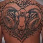 голова барана с пентаграммой во лбу татуировка на спине мужская фото
