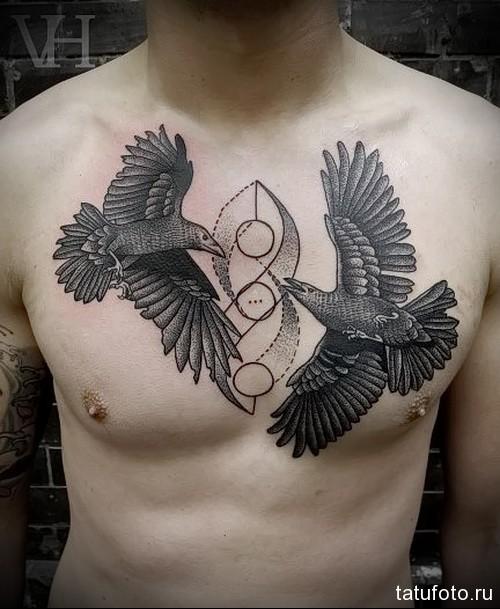 два ворона тату - мужская татуировка на грудь