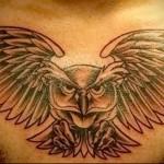 интересная тату с совой - мужская татуировка на грудь