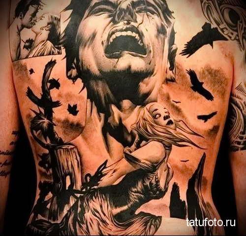 киногерои и черные вороны - татуировка на спине мужская фото