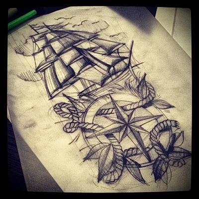 корабль эскиз тату картинка