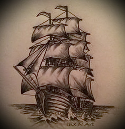корабль эскиз тату фото