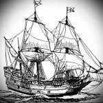 корабль эскиз тату 1