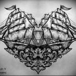корабль эскиз тату 2