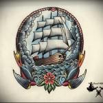 корабль эскиз тату 3