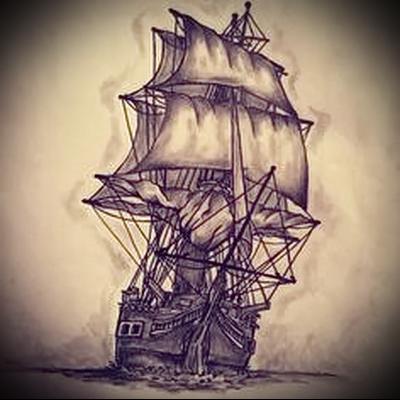 корабль эскиз тату