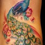 красочный павлин и цветы - женская татуировка на боку