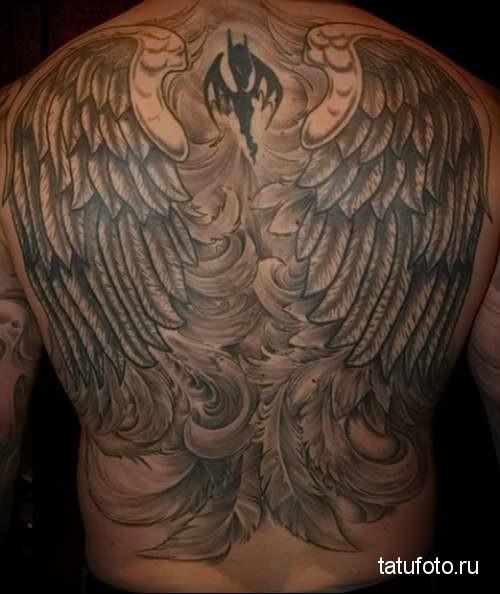 крылья из перьев - татуировка на спине мужская фото