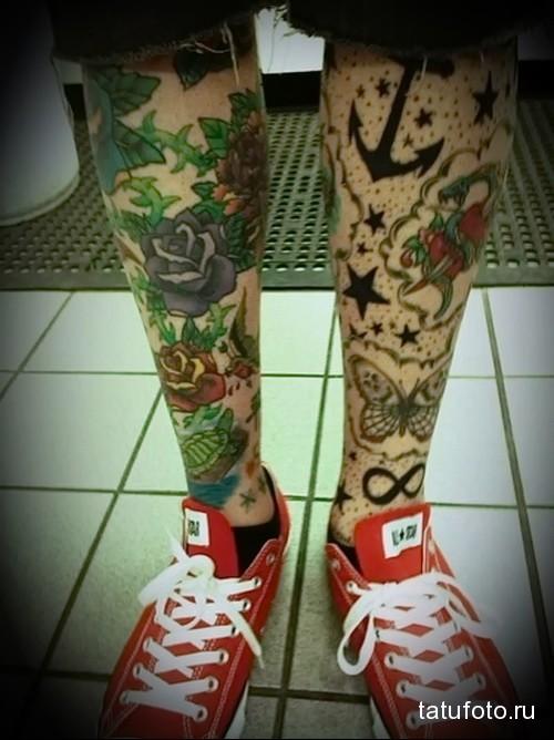 на выбор татуировка на ноге мужская