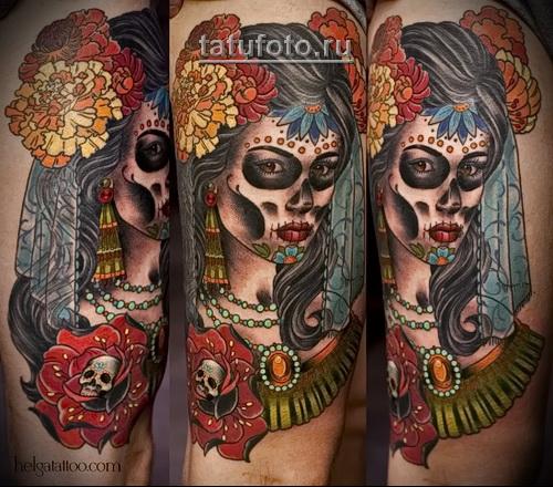 олд скул татуировка - муэрте девушка - портрет