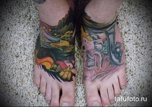 орел в полете татуировка на ноге мужская