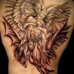 поцелуй двух ангелов - тату мужская на спине фото