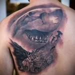 разные виды акул - тату мужская на спине фото