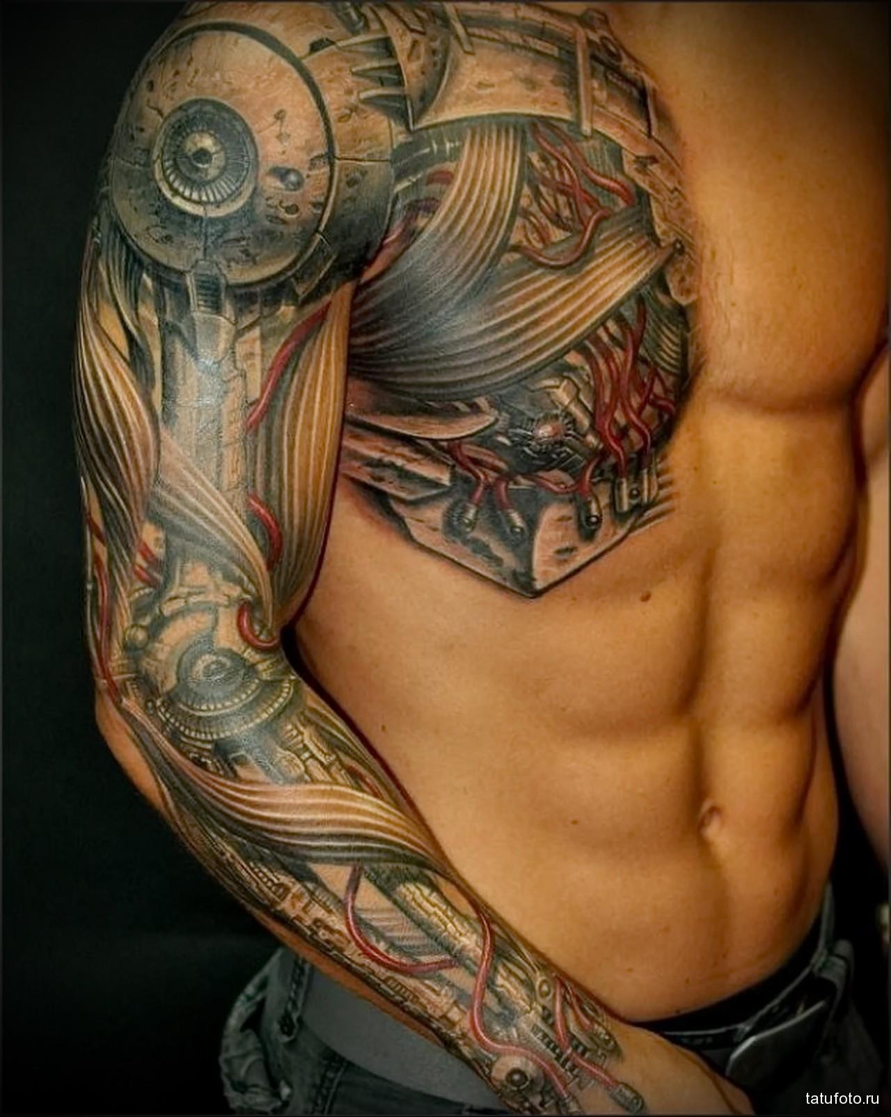 реалистичная биомеханическая тату - мужская татуировка на плече