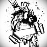 рисунок для татуировки нож в человеческом сердце