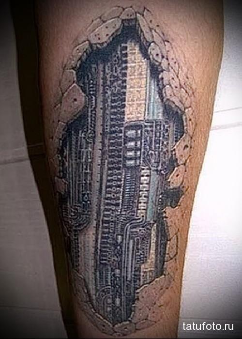 робо татуировка на ноге мужская