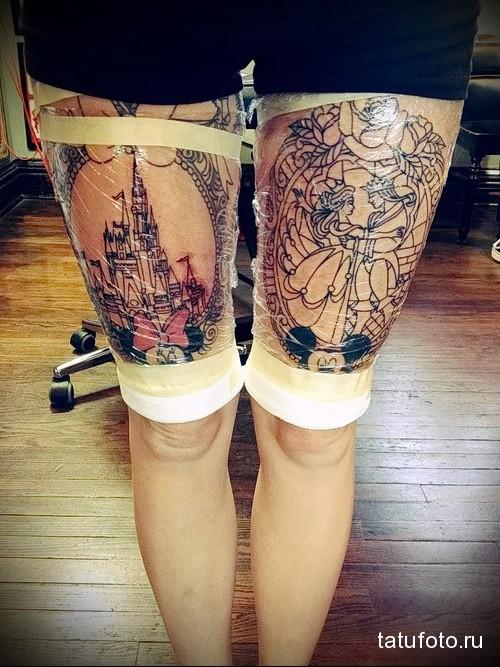 свежие тату на женских ногах - рисунки большого размера - фото