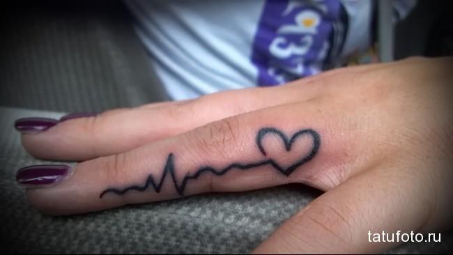 сердце и пульс - татуировка на пальце для девушки (тату - tattoo- фото)