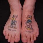 смешные птички - татуировка на стопе мужская - фото