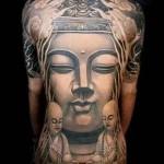 статуя будды - тату мужская на спине фото