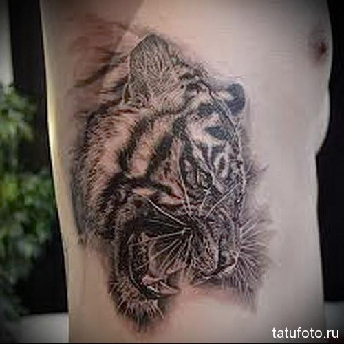 татуировка на боку у мужчнины - тигр