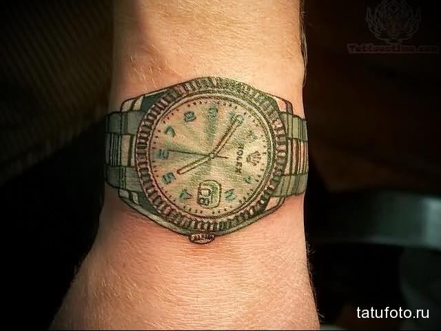 татуировка на запястье с наручными часами