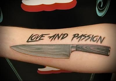 татуировка нож и надпись любовь и нежность