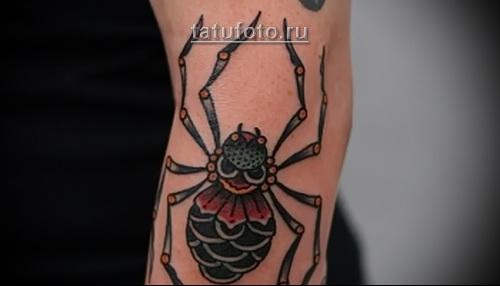 татуировка паук в стиле олд скул