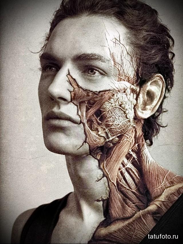 татуировки на лице, которые имитируют снятую кожу