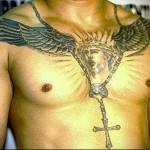 тату Иисус - крест и терновник - мужская татуировка на грудь