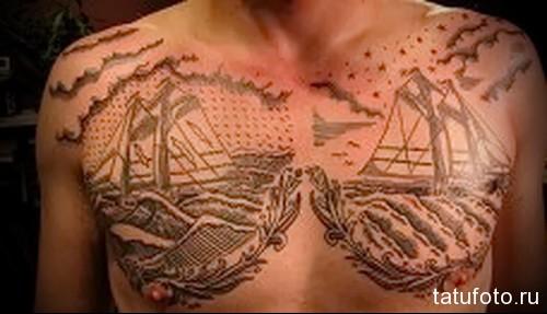 тату два корабля на груди -