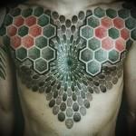 тату дотворк - мужская татуировка на грудь