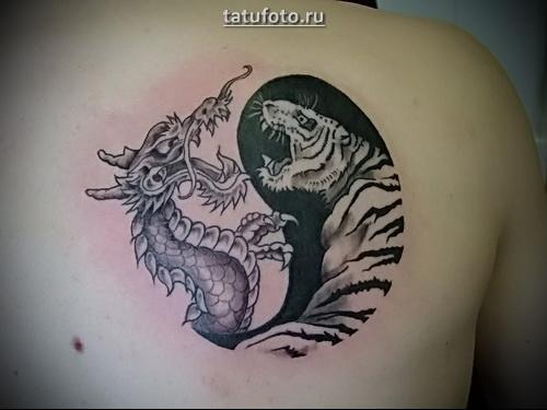 тату дракон тигр инь янь