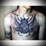 тату жук скоробей - мужская татуировка на грудь