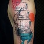 тату корабль с парусами фото