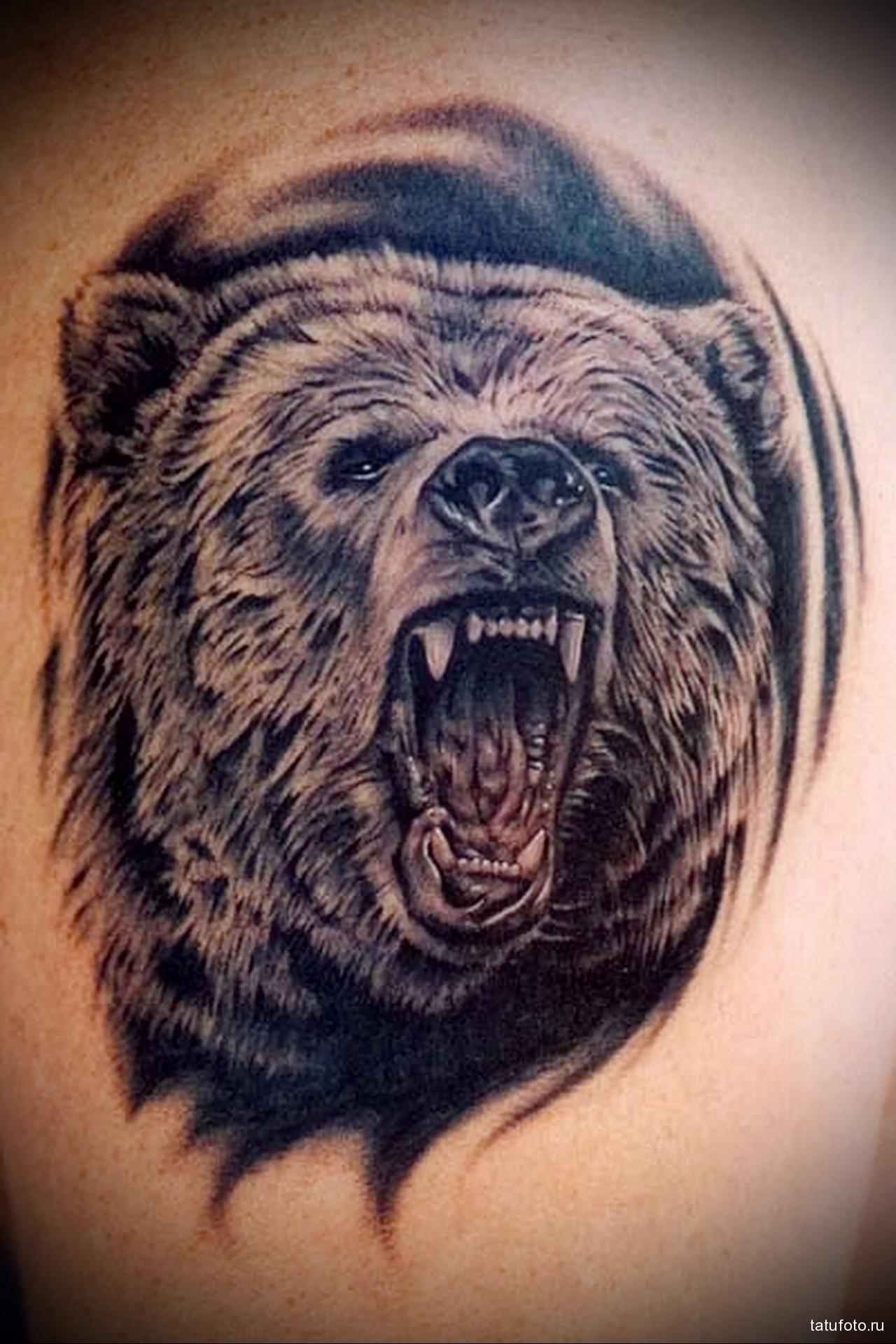 тату медведь рычит - мужская татуировка на плече