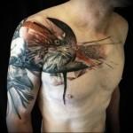 тату орел и ворон - мужская татуировка на грудь