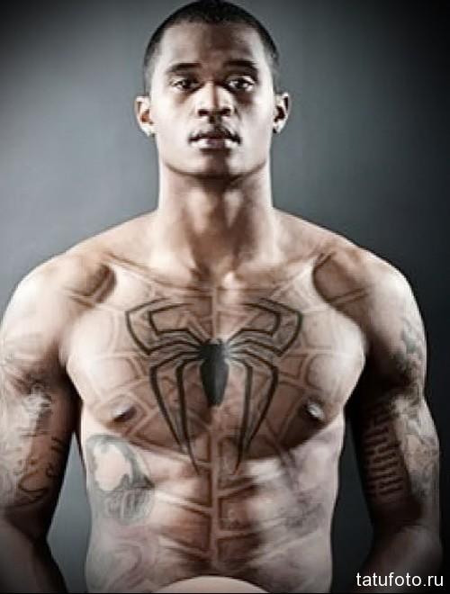 тату паутина и паук - мужская татуировка на грудь