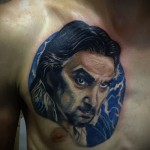 тату портрет мужчины с бородкой - мужская татуировка на грудь