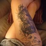 тату тигр и надписи на ногу для девушки