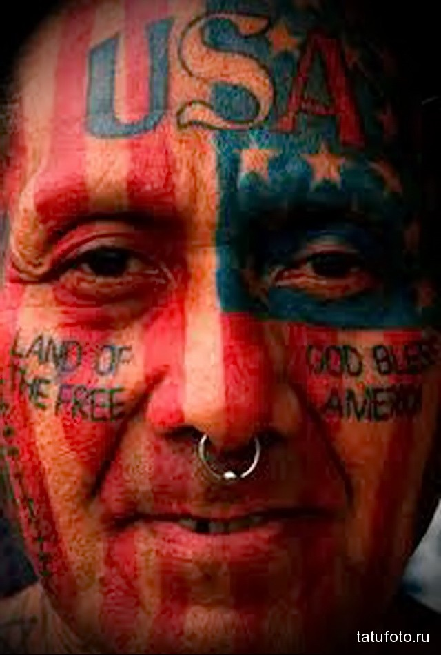 тату флаг америки на все лицо